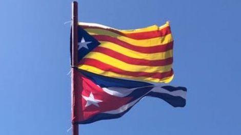 bandera catalana y cubana